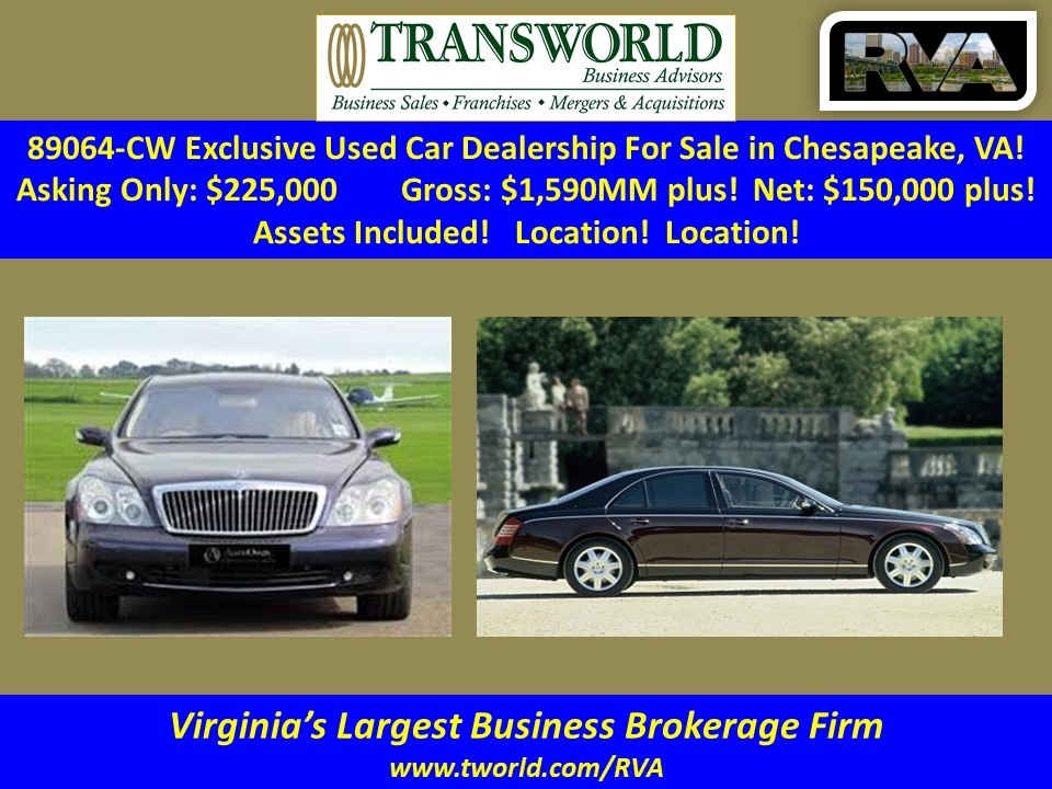 89064-CW Exclusive Used Car Dealership For Sale in Chesapeake, VA!