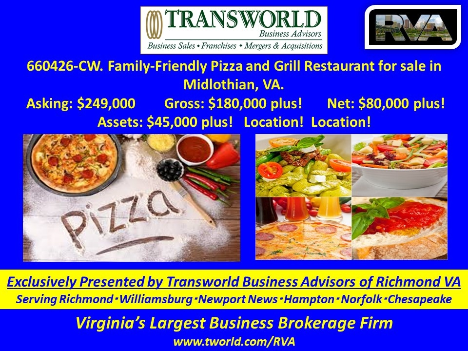 660426-CW. Family-Friendly Pizza and Grill Restaurant for sale in Midlothian, VA