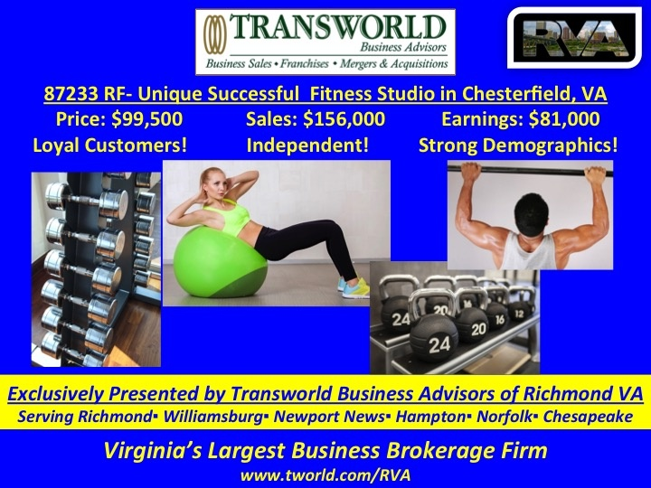 87232 RF- Unique Successful  Fitness Studio in Chesterfield, VA